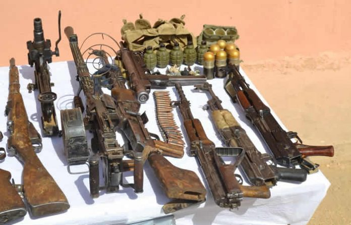 Army recovers arms cache