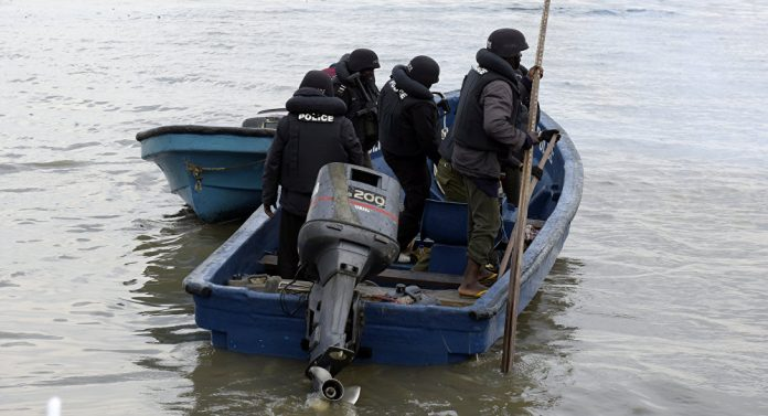 Nigerian Marine Police at work