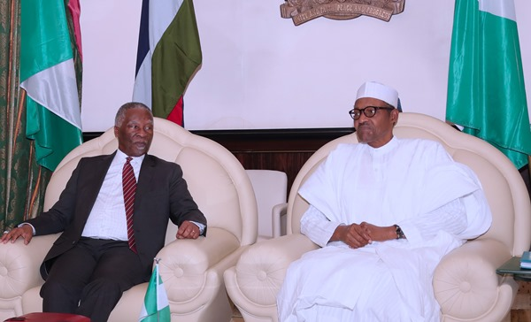 Thabo Mbeki of South Africa with President Buhari in Abuja