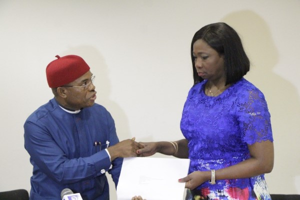 National Association of Nigerian Traders (NANTS) President, Ken Ukuoha (L) and the Senior Special Assistant to the President on Foreign Affairs and Diaspora, Mrs Abike Dabiri-Erewa