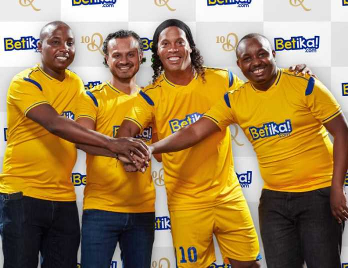 Ronaldinho, second right is now the Brand Ambassador for Kenya's Betika