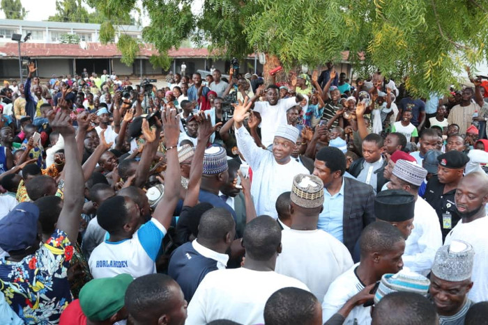 National Leader of the Peoples Democratic Party (PDP) and President of the Senate, Dr. Abubakar Bukola Saraki receiving over 5,000 youths who defected from the All Progressives Congress (APC) into the PDP's fold in Ilorin, on Sunday.
